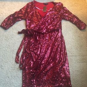Red Sequin Wrap Dress